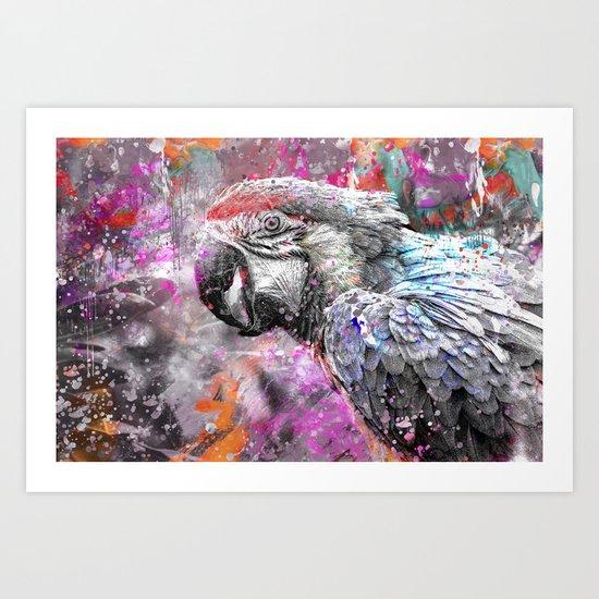 artsy parrot mixed media art Art Print