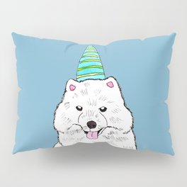 Samoyed with Party Hat Pillow Sham