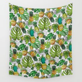 Tumbling Pineapples and Tropical Vibes Wall Tapestry