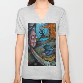 Tree In The Window - Painting by Landon Huber Unisex V-Neck
