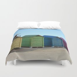Colorful beach cabinets Duvet Cover
