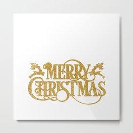 Merry Christmas - Gold glitter Typography Metal Print