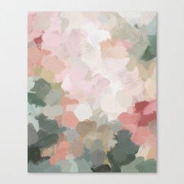Forest Green Fuchsia Blush Pink Abstract Flower Spring Painting Art Leinwanddruck