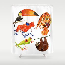 Rainforest animals 2 Shower Curtain