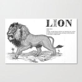 Lion mock dictionary print Canvas Print