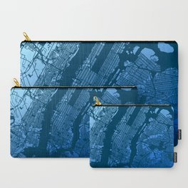 New York City Manhattan Two Tone Map Carry-All Pouch