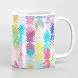 Hawaiian Pineapple Pattern Tropical Watercolor Coffee Mug