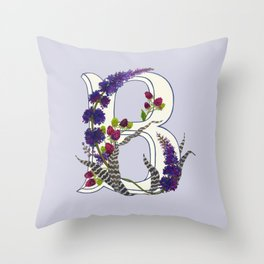 B is for Bromeliad & Buddleia Throw Pillow