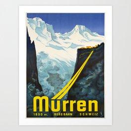 retro vintage murren bergbahn schweiz poster Art Print