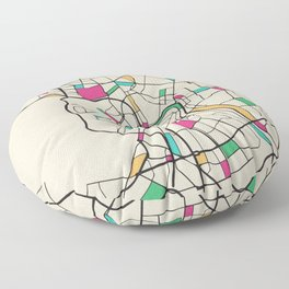 Colorful City Maps: Saint Petersburg, Russia Floor Pillow