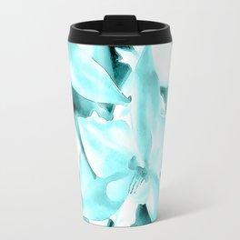 Cascading orchids - Teal Travel Mug