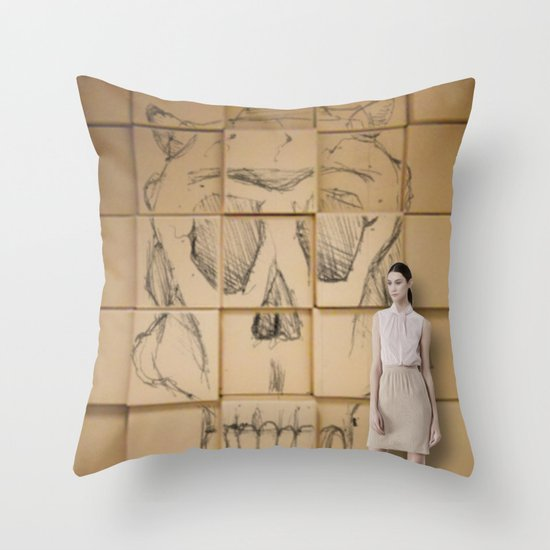 Space in Boxes with a model Throw Pillow