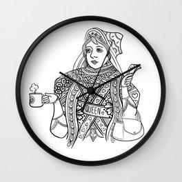 Queen love coffee. Wall Clock