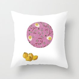 Eastern European Food/ Cold Beet Soup II Throw Pillow