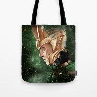 loki Tote Bags featuring Loki by Natalie Nardozza