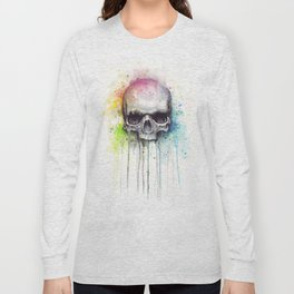 Skull Rainbow Watercolor Long Sleeve T-shirt