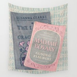 Pink and Gray Books Wall Tapestry