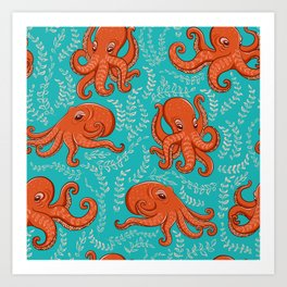 Fun orange octopus on turquoise background. Art Print