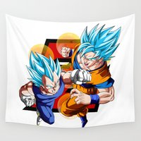 goku Wall Tapestries featuring DBZ - Vegeta & Goku SSJ God II by Mr. Stonebanks