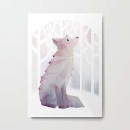 Fox in the Snow Metal Print