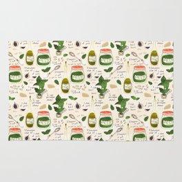 Pesto. Illustrated Recipe. Rug