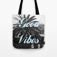good vibes Tote Bags featuring good vibes by Hannah