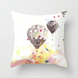 Hot Air Balloons Painting Throw Pillow