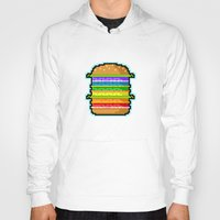 hamburger Hoodies featuring Pixel Hamburger by Sombras Blancas Art & Design