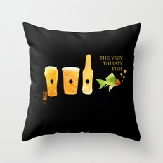 the very thirsty fish Throw Pillow