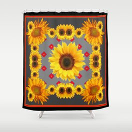 Western Blanket Style Sunflowers Grey Art Shower Curtain