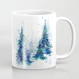 Watercolor winter fir forest Christmas Kaffeebecher