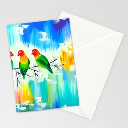 Lovebirds on a branch Stationery Cards