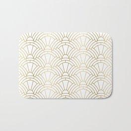 Gold and white geometric Art Deco pattern Bath Mat