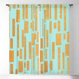 Abstract Bamboo Turquoise Gold Mid-Century Blackout Curtain
