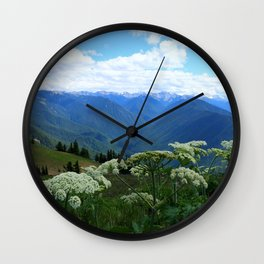 Olympic Mountains from Hurrican Ridge Wall Clock