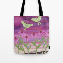 echinacea daydream with luna moths and snails Tote Bag