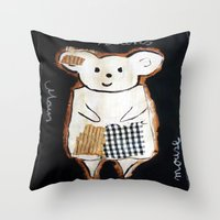 mouse Throw Pillows featuring mouse by woman