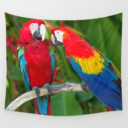 Two Splendid Spectacular Colorful Ara Parrots Flirting Close Up Ultra HD Wall Tapestry