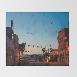 Venice Beach California Sunrise Throw Blanket