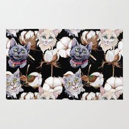 Cotton Flower & Cat Pattern on Black 02 Rug