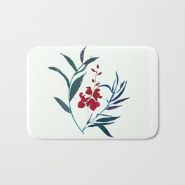 Red burgundy orchid and ocean navy blue foliage Bath Mat