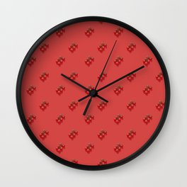 Six red cherry tomatoes on a red background pattern. Wall Clock