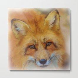 Beautiful Fox Face Watercolour Metal Print
