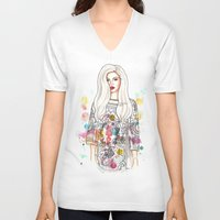 selena V-neck T-shirts featuring selena illustration by sparklysky