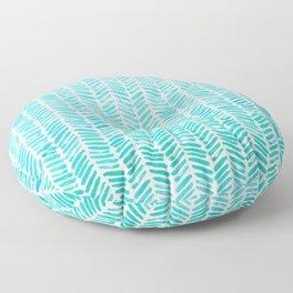 Handpainted Chevron pattern - small - light green and aqua teal Floor Pillow
