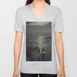 Plymouth Sound by Moonlight and Searchlight coastal nautical landscape painting by Julius Olsson Unisex V-Neck