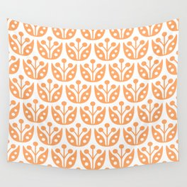 Mid Century Modern Flower Pattern 731 Orange Wall Tapestry