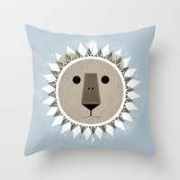 narnia Throw Pillows featuring The Lion, the Witch and the Wardrobe by Rowan Stocks-Moore