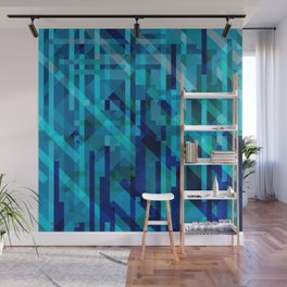 abstract composition in blues Wall Mural