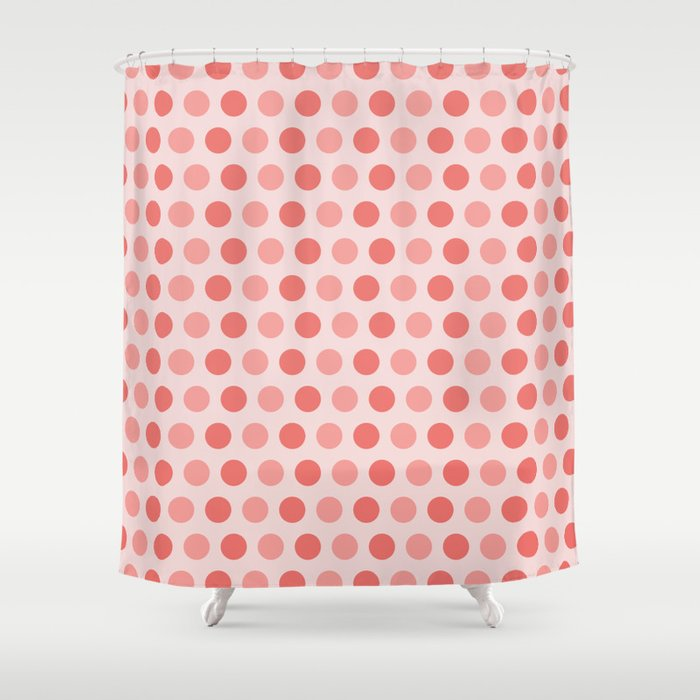 Coral Polka Dots Shower Curtain